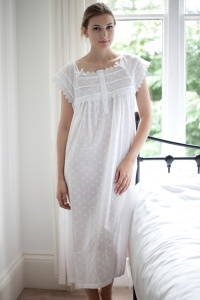 Fifi Cotton Lawn Cap Melon Sleeve Nightdress