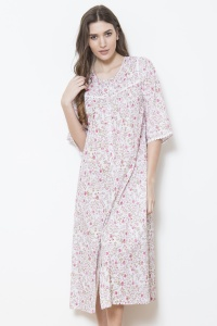 Gaye  Cotton Fleur Nightdress - Housecoat