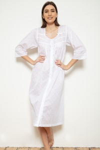 Jay  Cotton Voile Jaquard PolkaDot Button Nightdress