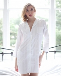 Kitty Cotton Lawn Deluxe Shadow Stripe Nightshirt