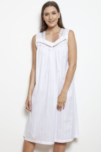 Mandy Cotton Lawn Jaquard Sleeveless Nightdress