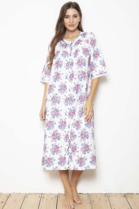 Noels - 100% Cotton Sateen Rosebud Button Through Nightdress