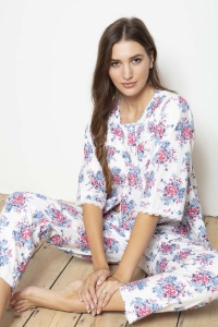 Normas - 100% Cotton Sateen Rosebud PJ Set