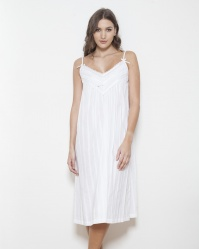 Ramsey Cotton  Jaquard Stripe Strappy Nightdress