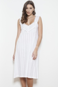 Rana Cotton Jaquard Wide Strap Nightdress