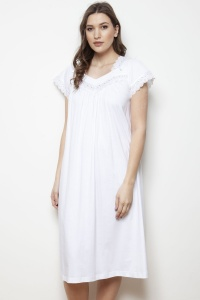 Wave Mercerised Jersey Cap Sleeve Nightdress