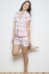 Wien Coral Flamingo Cotton Voile Shortie Pyjamas