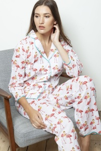 Wien Coral Flamingo Cotton Poplin Pyjamas