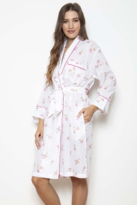 Rosebud 100% Cotton Voile Grace Shawl Robe