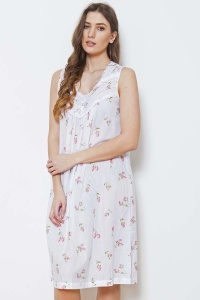Zada Cotton Rosebud Sleeveless Nightdress