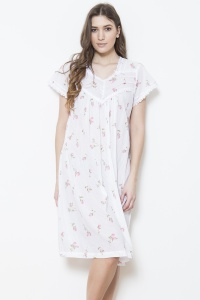 Zador  Cotton Rosebud Cap Sleeve Nightdress