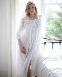 Jay  Cotton Lawn Jaquard PolkaDot Button Nightdress