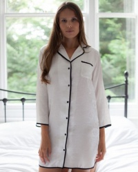 Shea -  Jaquard Rose Pure Silk Nightshirt